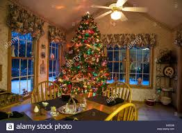 christmas tree in suburban residential home with snow outside