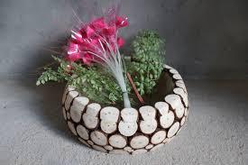 housewarming wedding gift idea rustic fir wood chip vase gift box flower pot wedding party