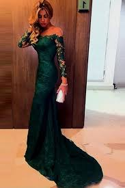 charming off the shoulder dark green mermaid lace prom dress with