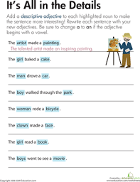 descriptive adjectives it u0027s all in the details worksheet