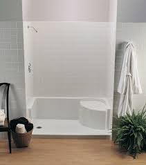 Bathroom Shower Stalls With Seat Bathroom Design And Decoration Using White Tile Shower Wall Lowes