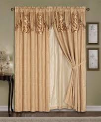 Drapery Liner Luxury Window Curtain 4pc Drapes Liner Valance Satin Jacquard