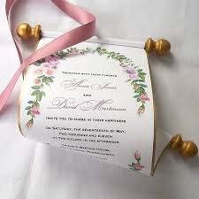 Scroll Invitation Boho Chic Wedding Invitations Scroll Invitations Watercolor