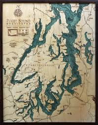 Whidbey Island Map Puget Sound Bathymetric Wood Chart Laser Cutting Birch And Seattle