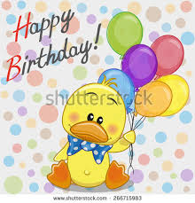 greeting birthday card cute duck gift stock illustration 574607422