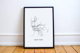 Metro New York Map New York Subway Map Print New York Metro Map Postersubway Map