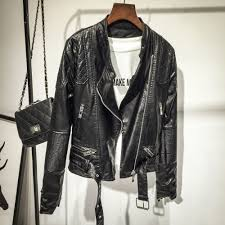 black and gold motorcycle jacket compare prices on womens faux leather jacket black online