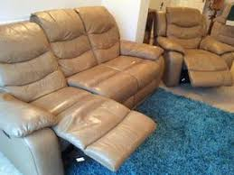 leather double manual recliner sofa and matching electric recliner