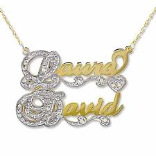 name necklace rings images Script couple 39 s name necklace in 10k two tone gold with diamond jpg