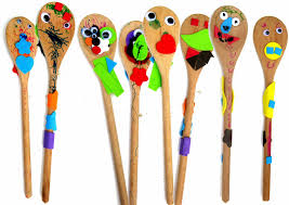 raindrops and paint pots wooden spoon puppets