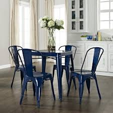 Cafe Dining Table And Chairs Amelia Five Metal Cafe Dining Set Table Chairs In Blue