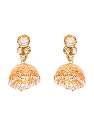 gold jhumka earrings buy paisley pop jhumkas aneri gold jhumka earrings at jivaana