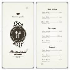 menu card templates 36 menu card templates free sle exle format