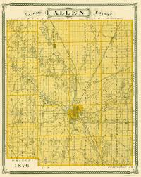 Fort Wayne Zip Code Map by Old County Map Allen Indiana Landowner 1876