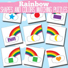 printable rainbow color shape learning puzzles busy bag