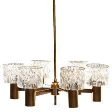 Swedish Chandelier Vintage Swedish Brass And Glass Shade Six Light Chandelier
