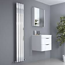 Modern Bathroom Radiators Alpha Chrome Vertical Slim Panel Designer Radiator 1800mm