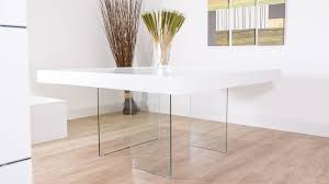 White Oak Square Dining Table Glass Legs Seats - Square dining table dimensions for 8