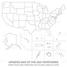 Usa Labeled Map by Updated Map Of The Usa Territories Stock Vector Art 651205508 Istock