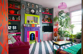 bright colour interior design in london a color clashing punk s bright vivacious flat design