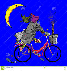 witch riding a bicycle stock vector image 73823509