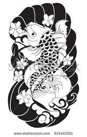 outline koi fish stock vector 615422351