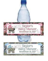 personalized camoflauge camo baby shower water bottle label