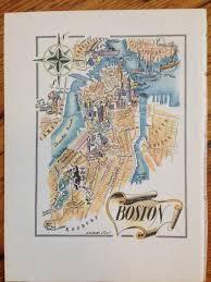 Map Of Boston Ma Boston Map Print Old Map Of Boston Massachusetts Vintage