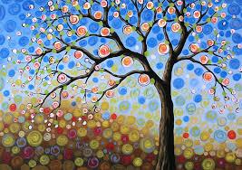 original abstract landscape tree painting blue sky mine