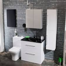 Cavalier Bathroom Furniture by Cassellie Idon Gloss White 2 Drawer Vanity Unit With Basin 800mm