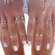 midi rings set fashion silver joint knuckle nail midi ring personality set of 6