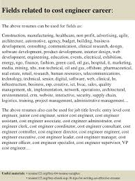 Samples Of Cover Letter For Resume by Top 8 Cost Engineer Resume Samples
