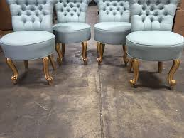 Tufted Upholstered Chairs Set Of 4 Petite Italian Tufted Upholstered Chairs With Gilded