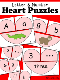 letter and number heart puzzles totschooling toddler