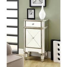 Cabinet End Table Monarch Specialties Mirrored End Table I 3702 The Home Depot