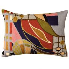 Lumbar Hundertwasser Pillow Cover Biomorph II Rectangle Wool Hand
