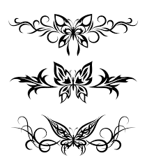 set tribal with butterflies stock vector illustration of