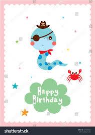 cute snake pirate happy birthday greeting stock vector 321319184