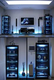bedroom bedroom ideas for guys with tv stand and glass shelves