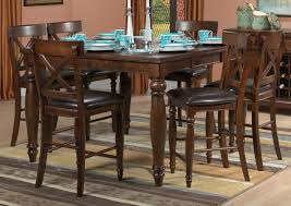 kingstown 7 piece pub height dining room set chocolate leon u0027s