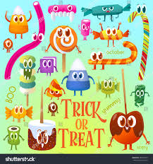 halloween greeting cards set cartoon candy halloween greeting cards stock vector 484546429