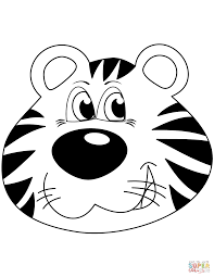 cartoon tiger head coloring page free printable coloring pages