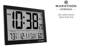Digital Atomic Desk Clock Amazon Com Marathon Cl030062bk Slim Jumbo Atomic Digital Wall