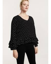 blouse ruffles lyst violeta by mango ruffles polka dot blouse in black