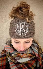 monogram headband monogram bun beanie headband kk s