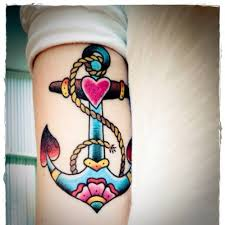 colorful traditional two flying sparrow tattoo design