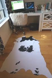White Leopard Rug Decorating Cozy Cow Hide Rug With Parson Dining Chairs And Black