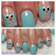 blue owl design gel polish on acrylic nails nail art acrylic
