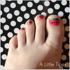 diy under 5 watermelon toenails a little tipsy