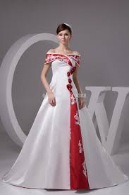 cheap red and white wedding dresses with floor length strapless